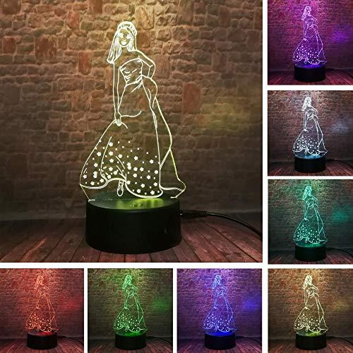 g Geschenk Prinzessin Königin Elsana Anna Seltene kleine fliegende Mann Fee basteln Glocke Schneeflocke 7 Farbe Nacht Dekoration Spielzeug Licht ()
