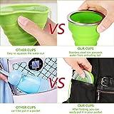 Silikon Falten Tasse Becher Faltbar Klappbar Lebensmittelecht Ungiftig Silikon:BPA-Frei Tragbare Kaffee Tasse für Wandern Camping Outdoor Sport, bruchfest, 200 ml Für Heiß und Kaltgetränke 2 Stück Test