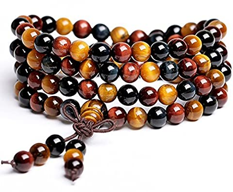 CASOTY Multilayer Tiger Eye and Black Onyx pagoda beads bracelet jewelry for men and women by CASOTY