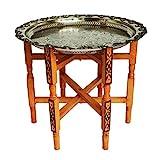 Simandra Marokkanischer Tisch Beistelltisch Teetisch orientalisch mit Silbertablett -mittel- Farbe Motiv 2