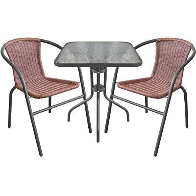 3tlg. Bistro-Set Sitzgruppe Balkonmöbel Sitzgarnitur Metall Glastisch Bistrotisch 60x60cm Anthrazit + Metall Stapelstühle Poly-Rattan Anthrazit/Braun