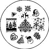 Stamping Schablone Plate AP01 Weihnachten X-mas Eisblume Weihnachtsmann Nailart Nageldesign