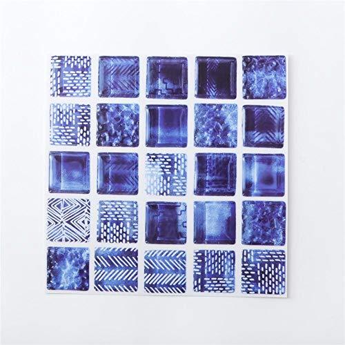 6PCS 3D Tapete Selbstklebende Fliesen Aufkleber Wohnzimmer Küche Bad Wand Boden Dekoration Abziehbilder öldicht Wasserdicht Nachahmung Fliesen Wandaufkleber Blau 20 * 20 cm