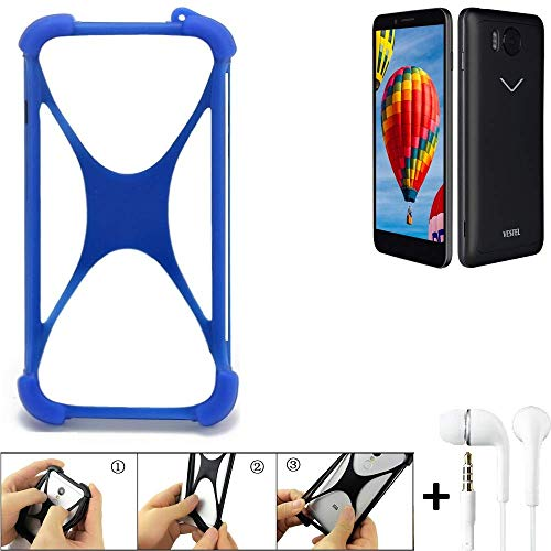 K-S-Trade Handyhülle für Vestel V3 5580 Bumper Schutzhülle Silikon Schutz Hülle Cover Case Silikoncase Silikonbumper TPU Softcase Smartphone, Blau (1x), Headphones