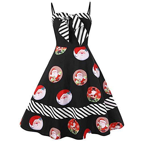 n Kleid Damen Dress Frauen Weihnachten Plus Size Bow Color Block gestreiften Santa Print Vintage One-Shoulder Schulterfrei Dress ()