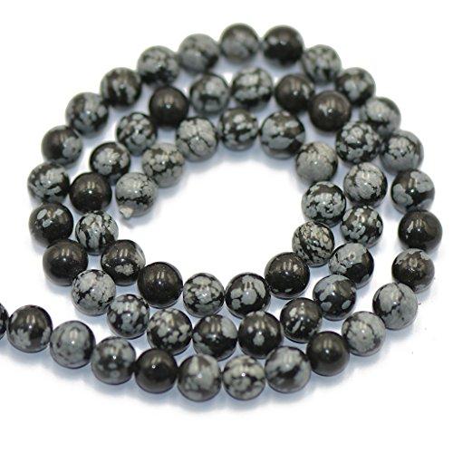 Unbekannt Schneeflocken Obsidian Runden Edelstein Lose Perlen Strang 6 Mm / 15 Zoll -