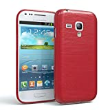 EAZY CASE GmbH Hülle für Samsung Galaxy S3 Mini Schutzhülle Silikon, gebürstet, Slimcover in Edelstahl Optik, Handyhülle, TPU Hülle/Soft Case, Backcover, Silikonhülle Brushed, Rot