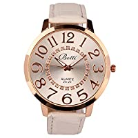 New Fashion Unisex Rhinestone Decor Big Dial Faux Leather Strap Quartz Wrist Watch (White)