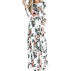 Lover-Beauty Ropa Mujer Vestido Largo de Verano Top Falda de Manga Larga con Estampada Floral