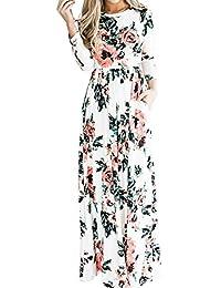 Lover-Beauty Vestido Largo Floral Print Casual Verano para Noche Fiesta Playa Fiesta Sin Hombro Cuello Redondo Vestido Navidad