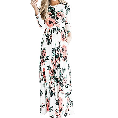 Blumendruck Sleeveless Boho Kleid Dame Abend Party Langes Maxi Kleid,weiß,XXL ()