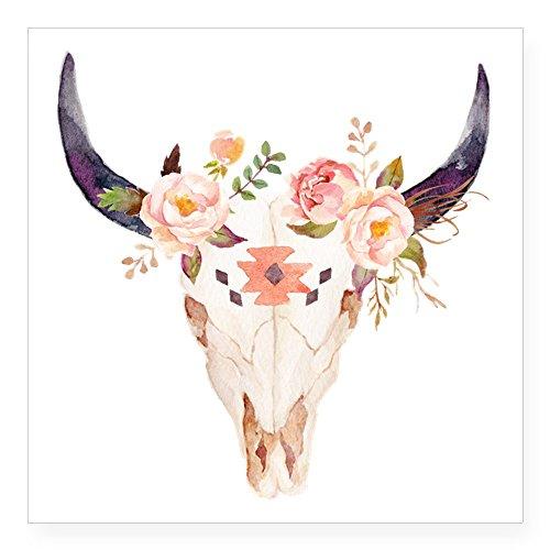 CafePress-Bull testa fiori-Adesivo quadrato adesivo paraurti auto decalcomania, 7,6x 7,6cm (Small) o 12,7x 12,7cm (grande) Large - 5x5 Infradito colorati estivi, con finte perline