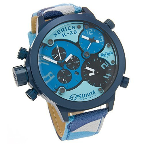 Welder by U-Boat K29 Triple Time Zone Chronograph Blue Steel Mens Sport Watch Camouflage Strap K29-8006