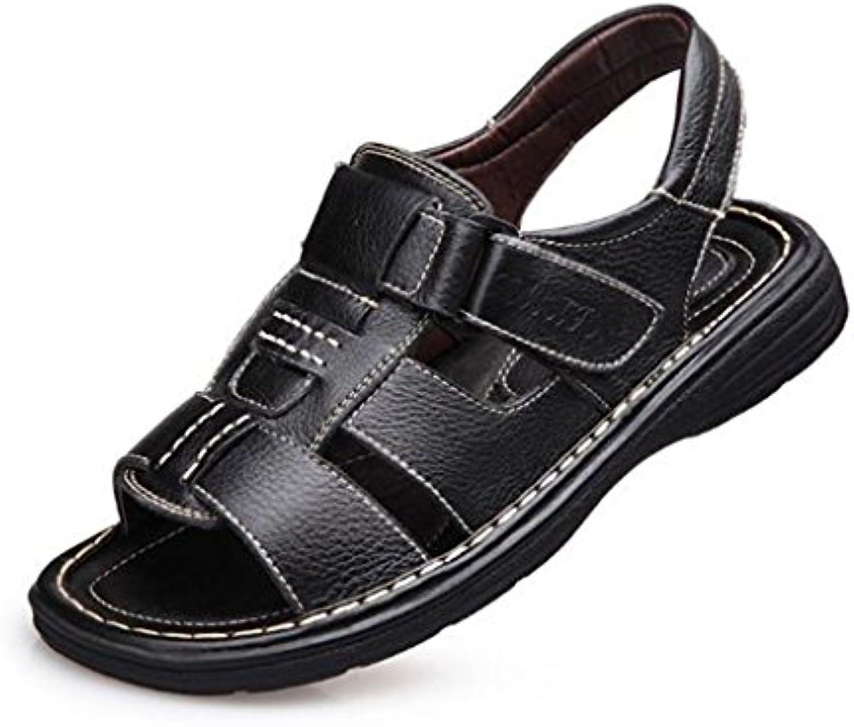 Sandalias - Sandalias de Cuero Respirable de Verano para Hombre/Sandalias Baotou Informales de Diario Sandalias