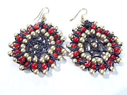 Ohrringe Ethnische Schmuck Bohème Indien Indische Creolen Gold Rot Schwarz Perlen Hippie (Gold Ohrringe Aus Indien)