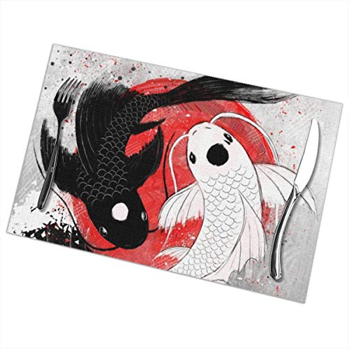 MrRui Table Mats Set of 6 Esstisch-Platzsets Koi Fish Yin Yang Placemats for Dining Table Washable Table Mats 12x18 Inch Blue Fish Serving Set