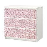 nikima - 002 Möbelfolie für IKEA MALM - Blumen rosa - 3 Schubladen Aufkleber Sticker Klebefolie (Möbel nicht inklusive)