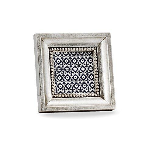 Belcraft Altamura Bilderrahmen, Holzrahmen, Handgearbeitet in italienischem Stil, Fotorahmen, Fotogröße 8x8 cm,Geschenkbox, Silver (13x13 cm) - Italienische Holzrahmen
