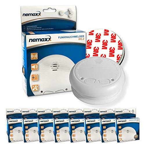 8x Nemaxx WL2 Funkrauchmelder Rauchmelder Brandmelder Set Funk koppelbar vernetzt - nach EN 14604 +...