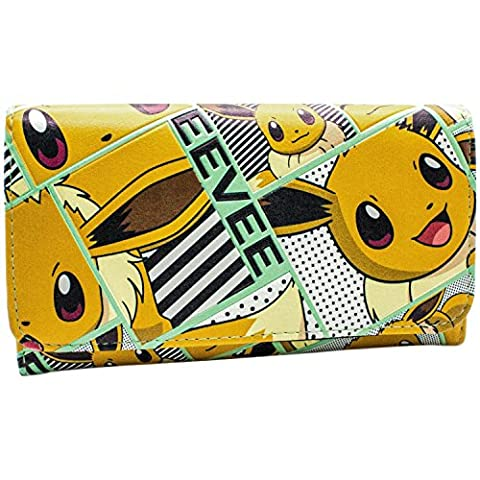 Nintendo Pokemon Happy Eevee Orange Coin & Card Tri-Fold Purse