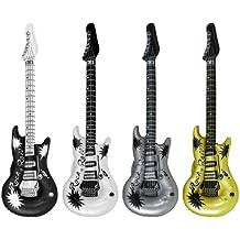Guitarras de Rock & Roll Hinchables x 4 Para Fiestas de Disfraces Varios Colores