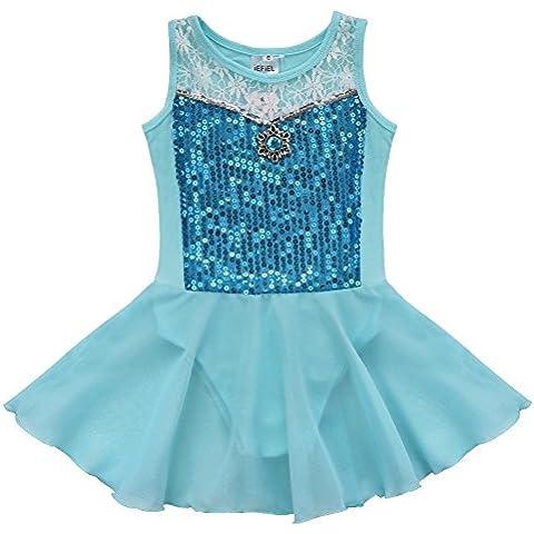 iEFiEL Vestido de Danza de Ballet Princesa Tutú para Niña con Encaje Floral sin Mangas Algodón