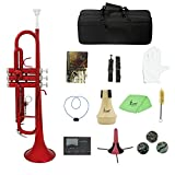 KKmoon Brass Trumpet Bb B Flat with Mouthpiece Carry Bag Tuner Mute Trumpet Stand Gloves Cleaning Tools Wind Instrument
