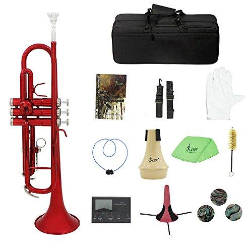 Kalaok Messing Trompete Bb B flach mit Mundstück Tragetasche Tuner Mute Trompete Stand Handschuhe Reinigungswerkzeuge Blasinstrument