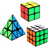 Aiduy Speed Cube Set 3 Pack, Speed Cube 3x3 2x2 Triangle Pyramid Cube Puzzle Bundle for Kids, Smooth Magic Cube Set for Children Boys and Girls