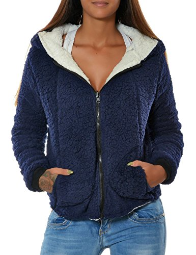 Fleece Sweat (Damen Fleece Kapuzen-Pullover Hoodie Sweatshirt Sweat-Jacke Thermo Gefüttert No 15728 Navy L / 40)