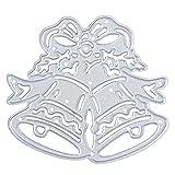 Fustelle Stencil in metallo, U-horizon DIY Cutting Dies Christmas Bell per albi di ritagli, cartoncini sagomati, diari e progetti creativi manuali fai da te, Acciaio al carbonio (Campana di Natale)