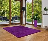 Designer Teppich Friese Einfarbig Modern Verschiedene Größen und Farben Violett (80x150)