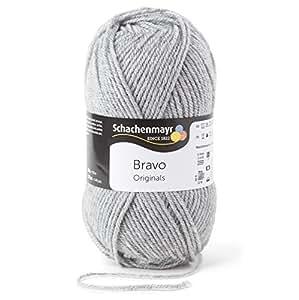 Pelote de laine Schachenmayr Bravo, 50g, Polyacryl, Couleur: 08295 Gris hell chiné, laine à tricoter (Import Allemagne)
