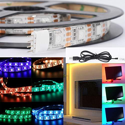 Yinroom LED-Streifen-Licht USB-Powered TV PC Zurück Stimmung Beleuchtung Weihnachten Lampe Heimkino Akzentbeleuchtung Kit5V 5050 RGB LED-Streifen Lichtfarbe ändern (Size : 30LED/50cm+USB)