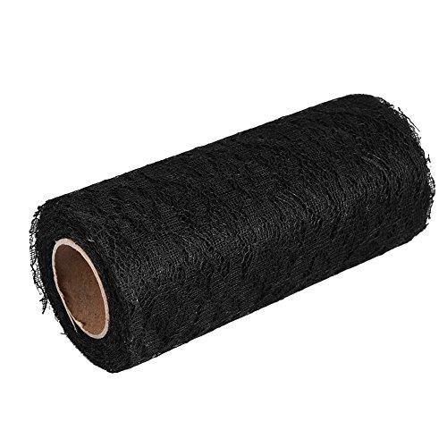 Zerodis 10 Yard Spitzenband Lace Roll Dekoration Tischläufer Tischdekoration Tüllband Romantik (Schwarz) (Spitzen-tischläufer Schwarz)
