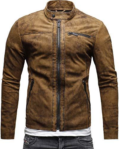 CRONE Epic Herren Lederjacke Cleane Leichte Basic Jacke aus weichem Schafs-Leder (XL, Vintage Braun (Wildleder)) - 3
