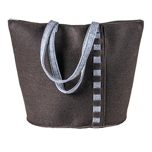 AS Design by LaFiore24 LaFiore24-Hochwertige Filztasche, Handtasche, Tragetasche, Organizer, Shopper, Festival Bag, Aufbewahrung mit Stilvoller Applikation (Braun) (Hobo 0)