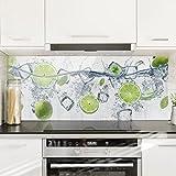 Bilderwelten Panel antisalpicaduras de cristal - Refreshing lime - Panorámico, panel...