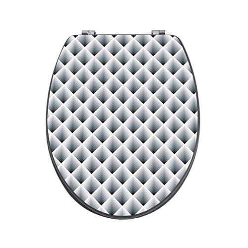 banjado Design Toilettensitz in Anthrazit | WC-Sitz Holz MDF 42,3×3,5×37,5cm | Klodeckel mit Edelstahl Scharnieren | Toilettendeckel mit Motiv Raster 3D Grau