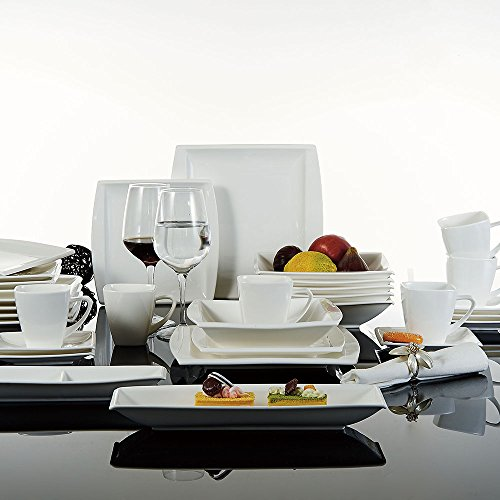 MALACASA, Serie Blance, 32-teilig Kombiservice Porzellan Geschirrset mit 6 Tassen 180ml, 6 Untertassen, 6 Dessertteller, 6 Tiefteller, 6 Flachteller, 1 Rechteckige Platte und 1 2-Speisefächer Rechteckige Platte