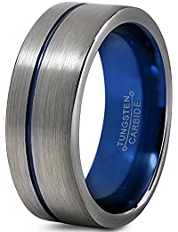 Tungsten Wedding Band Ring 8mm for Men Women Blue Silver Flat Pipe Cut Brushed Polished Lifetime Guarantee