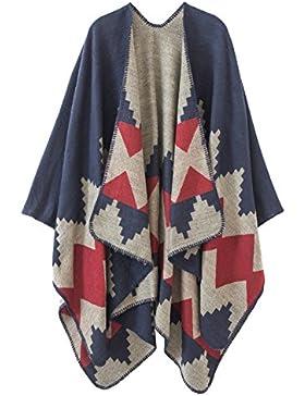 Urban GoCo Mujeres Poncho Cardigan de Punto con Bloques de Colores de Gran Tamaño Manta Capas Bufanda Chal