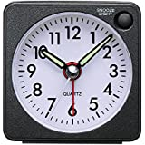 Mini Alarm Clock Travel Alarm Clock with Night Light, Analogue Quartz Alarm Clock with Snooze Function, Loud, Crescendo alarm clock with silent sweep No Ticking Sweeping Non Ticking Alarm Battery Operated