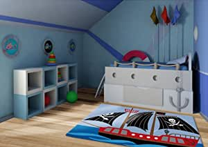 kinderteppich piratenschiff 135x190 cm zum spielen sonderpreis. Black Bedroom Furniture Sets. Home Design Ideas