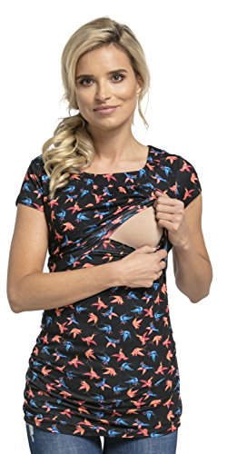 Happy Mama Damen Umstands Still T-Shirt Lagendesign. Rundhalsausschnitt. 136p