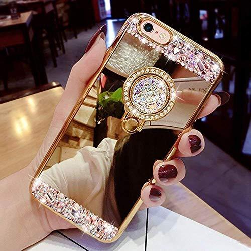 Kompatibel für Huawei P20 Lite Hülle Spiegel Schutzhülle,Bling Glitzer Strass Diamant Kristall TPU Silikon Hülle mit Ring 360 Grad Ständer Soft Silikon Handyhülle Tasche Case,Gold Bling Strass Case