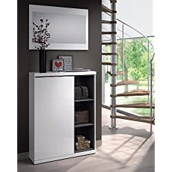 Habitdesign 0G6749BO - Recibidor zapatero con espejo, acabado blanco brillo y ceniza, medidas 79 x 108 x 25 cm mas espejo