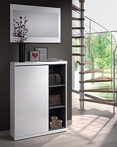 recibidores: Habitdesign 0G6749BO - Recibidor zapatero + espejo, acabado Blanco Brillo y Gris...