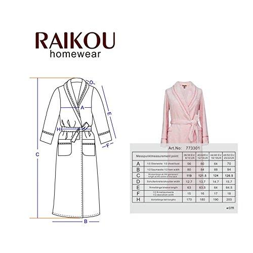 RAIKOU Kuschel weicher Bademantel Hausmantel, Loungewear Saunamantel für Damen, aus luxuriösem Flausch Coral Fleece auch als Morgenmantel perfekt Anthrazit