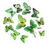Baoblaze 12pcs 3D Schmetterlinge Wandtattoo Wand Fenster deko Wandtatoo Wandaufkleber - Grün